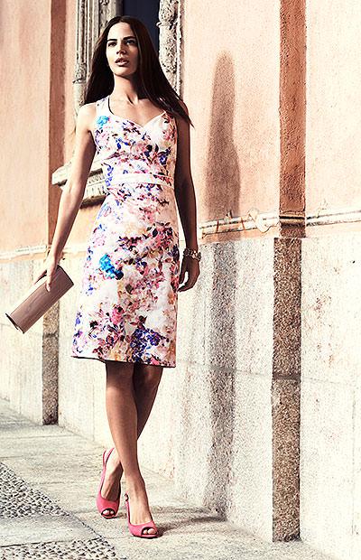 Digital print shift dress £49 Pink sling backs £15 Nude clutch bag £16