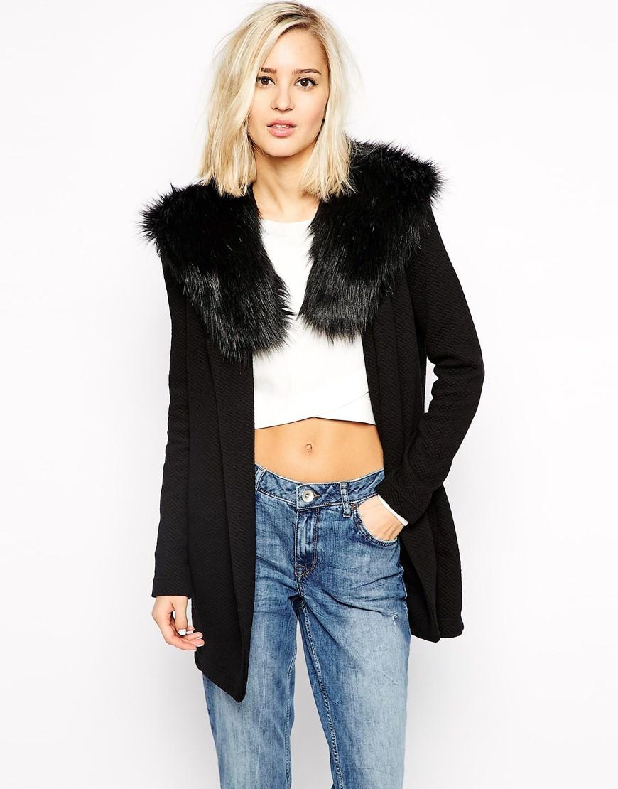 River Island Faux Fur Collar Oversized Coat £50.00 - ASOS